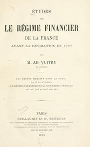 Études sur le régime financier de la France avant la révolution de 1789