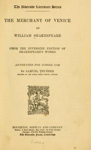Cover of: The merchant of Venice by William Shakespeare
