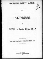 Cover of: The Pacific Railway scandal by Mills, David