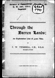 Cover of: Through the barren lands by J. W. Tyrrell