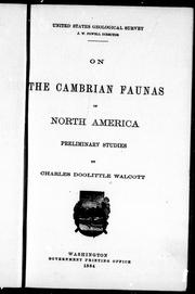 On the Cambrian faunas of North America by Charles D. Walcott
