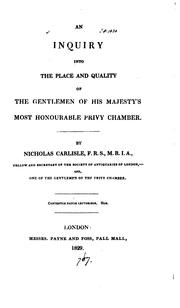 An inquiry into the place and quality of the gentlemen of his majesty's most honourable privy .. PDF