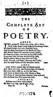 The complete art of poetry by Charles Gildon