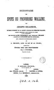 Dictionnaire des spots ou proverbes wallons, revu, coordonn PDF