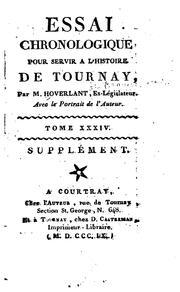 Essai chronologique pour servir à lhistoire de Tournay
