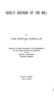 Hegel's doctrine of the will PDF