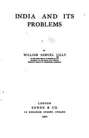 India and its problems by William Samuel Lilly