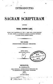 Introductio in Sacram Scripturam by Thomas Joseph Lamy