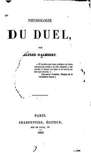 Physiologie du duel by Alfred d' Almbert