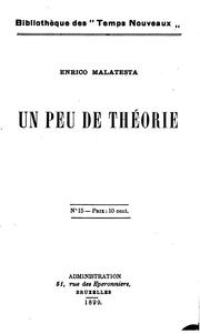 Cover of: Un peu de théorie by Errico Malatesta