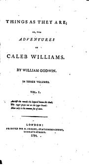 Things as they are by William Godwin