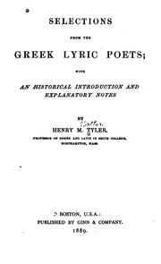 Selections from the Greek Lyric Poets .. by Henry M. Tyler