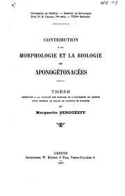 Contribution a la morphologie et la biologie des aponogétonacées...
