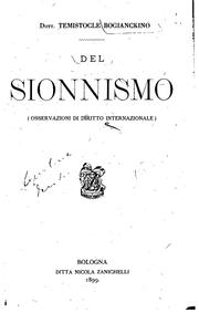 Del sionnismo: (osservazioni di diritto internazionale).