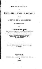 Fin du supplément aux Éphémérides de lHôpital Saint-Jean et de lHospice de ...