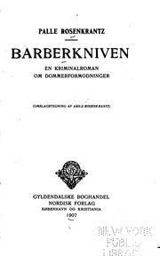 Barberkniven; en kriminalroman om dommerformodninger.