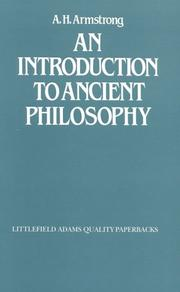 An introduction to ancient philosophy by A. H. Armstrong