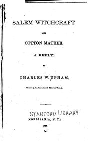 Salem Witchcraft and Cotton Mather. A Reply PDF