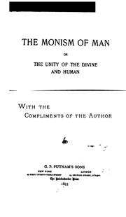 The Monism Of Man Or, The Unity Of The Divine And Human PDF