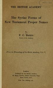 The Syriac forms of New Testament proper names PDF