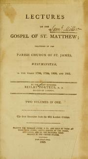 Lectures on the Gospel of St. Matthew by Beilby Porteus