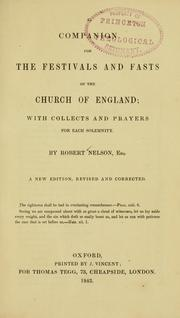 A companion for the festivals and fasts of the Church of England by Nelson, Robert