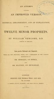 An Attempt towards an Improved Version, a Metrical Arrangement, and an Explanation of the Twelve Minor Prophets PDF