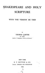 Shakespeare and Holy Scripture by Thomas Carter