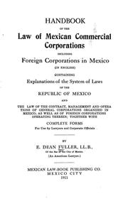 Handbook of the law of Mexican commercial corporations