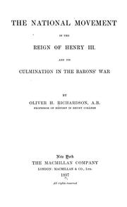 The national movement in the reign of Henry III by Oliver H. Richardson
