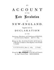 An account of the late revolution in New-England by Nathanael Byfield