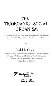 Cover of: The triorganic social organism by Rudolf Steiner