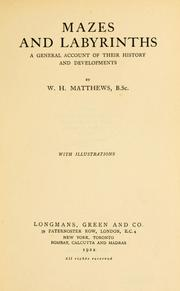 Cover of: Mazes and labyrinths by Matthews, William Henry