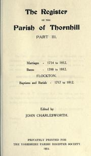 The register of the parish of Thornhill by Thornhill, Eng. (Yorkshire)