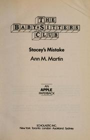 Stacey&#39;s mistake by Ann M. Martin