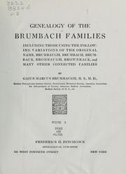 Cover of: Genealogy of the Brumbach families by