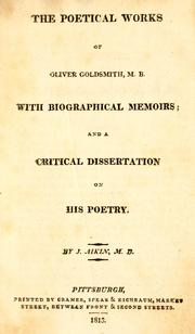 Cover of: The poetical works of Oliver Goldsmith by Goldsmith, Oliver