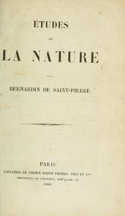 Études de la nature by Bernardin de Saint-Pierre
