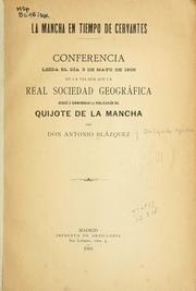 Cover of: La Mancha en tiempo de Cervantes by Antonio Blázquez y