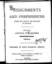 Assignments and preferences under the laws of the province of Ontario by 