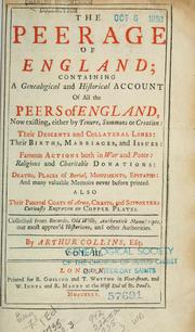 The peerage of England by Collins, Arthur