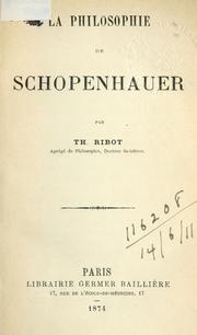 Cover of: La philosophie de Schopenhauer by Théodule Armand Ribot
