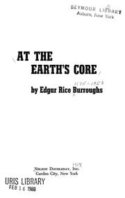 At the Earth&#39;s Core by Edgar Rice Burroughs