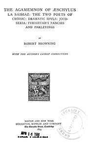 Cover of: The Agamemnon of Aeschylus by Robert Browning