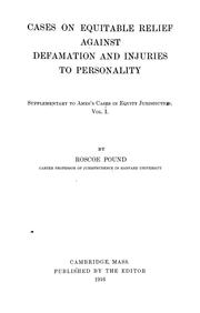 Cases on equitable relief against defamation and injuries to personality