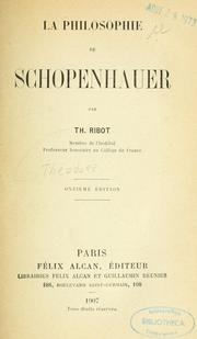 Cover of: La philosophie de Schopenhauer by Thodule Armand Ribot
