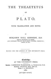 Cover of: The Theaetetus of Plato by Plato