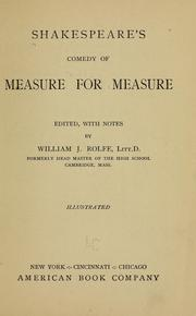 Cover of: Shakespeare&#39;s comedy of Measure for measure by William Shakespeare