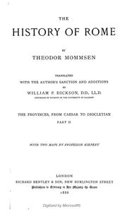 Cover of: The history of Rome by Theodor Mommsen