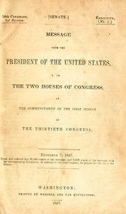 Message from the President of the United States, to the two houses of Congress by